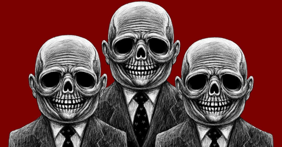 Pencil drawing of three men in suits with a skulls instead o faces.