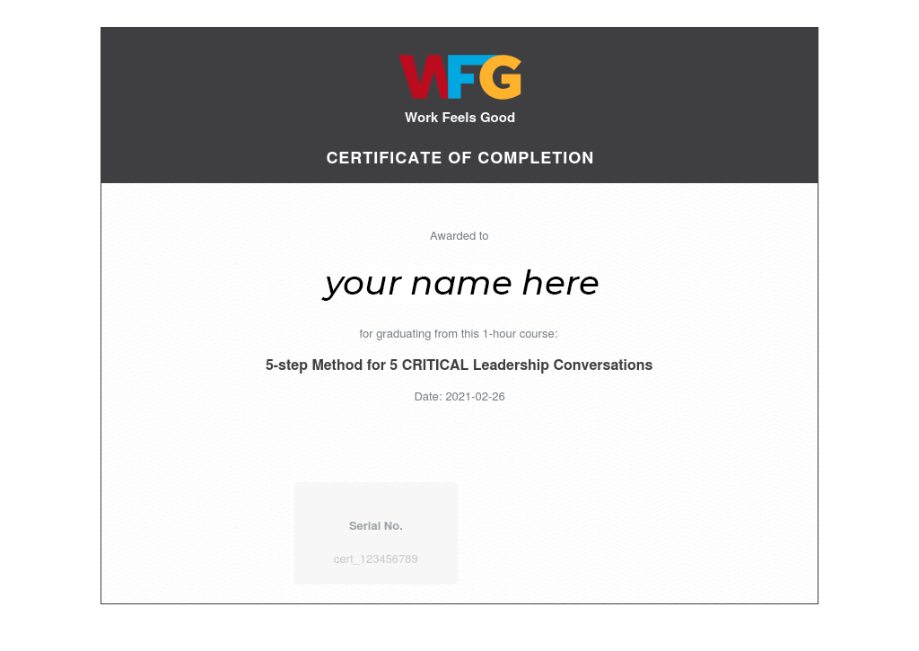 Sample Certificate of Completion from Work Feels Good.